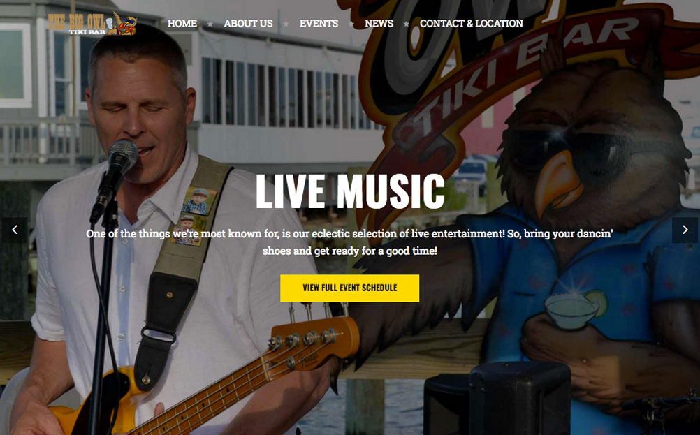 The Big Owl Tiki Bar Grasonville Maryland Website Design By A Digital Mind
