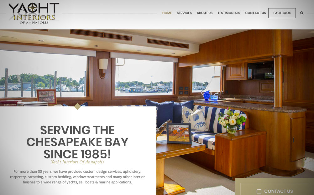 Yacht Interiors Of Annapolis Maryland Website Design By A Digital Mind